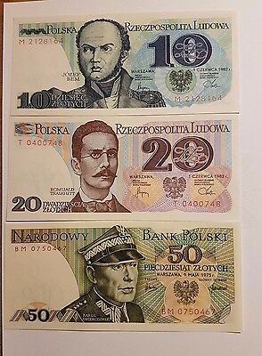 Poland 1975-1986 Set of banknotes from 10 zl up to 1000 zlotych - UNC