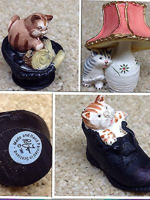 3 X Paul Fagan Hand Painted Collectable Miniature Cat Figures Circ 1988