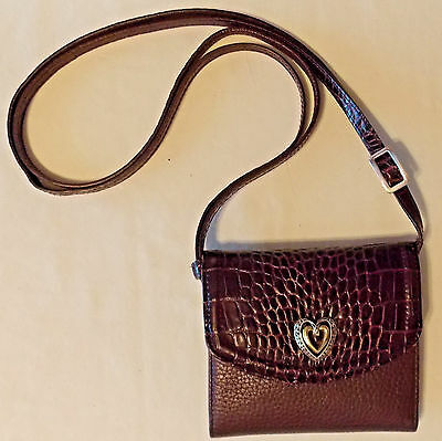 Brighton Brown Croc Leather Clutch Wallet Removable Crossbody Shoulder Strap