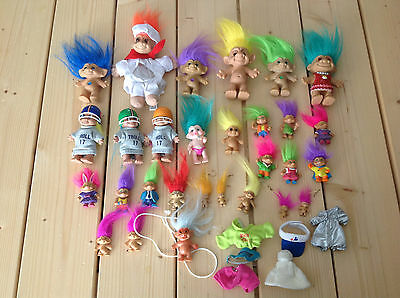 Lot of 29 Vintage Troll Dolls Nude Clothes Jewel Mini Earrings Different Sizes