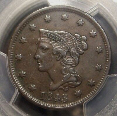1843 Braided Hair Large Cent, Petite Head Small Letter Variety, Pcgs Graded Xf40