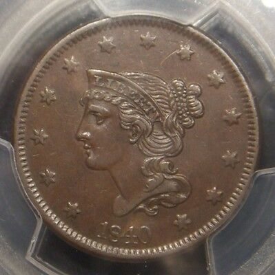 1840 Braided Hair Large Cent, Large Date Variety, Pcgs Graded Au53
