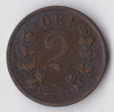 Norway, Two Ore 1884 (Scarce), VF, WE2181