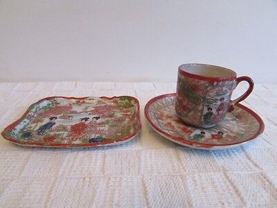 Vintage Japanese Hand Painted Geisha Cup & Saucer, Trinklet / Tray