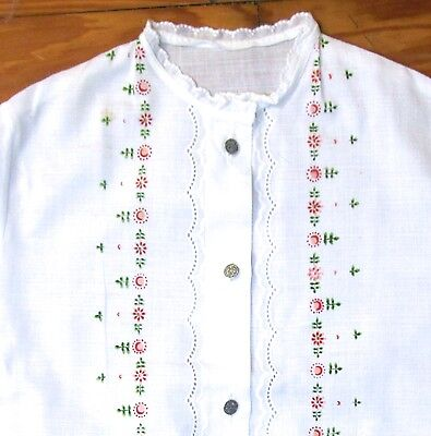 Vintage Enco Girl's Short Sleeve Dirndl Blouse,floral Design & Embroidery Size 8