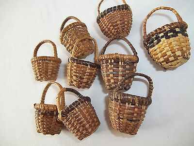 """Lot 9 Miniature Baskets hand Woven Wicker~Easter dark with  handles 1 1/2"""" Mini"""