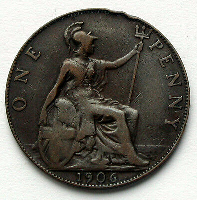 1906 UK (British) Edward VII Coin - One Penny (1d) - edge knocks (reverse)