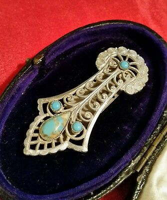 Pretty Egyptian themed Vintage Art Deco Dress Clip with Turquoise stones