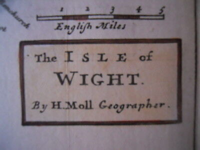 Map Isle of Wight, Farnes, Scilly. Herman Moll c.1740