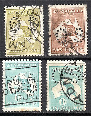AUSTRALIA – 1914 - 1915 Officials punctured OS -  used. Kangaroo