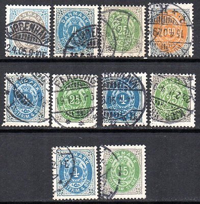 DENMARK 1903 bicoloured stamps Wmk. Crown III used. Matrix Flaws
