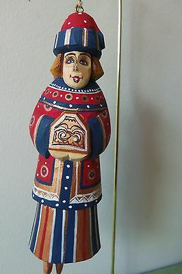 G. DeBrekht RUSSIAN WOMEN ORNAMENT - Hand Carved Wood and Hand Painted #3157-3