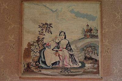 "Antique fine petit point needlepoint/tapestry - ladies in gardeni 16"" square"
