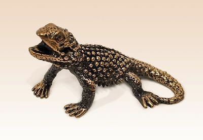 Miniature Bronze Figurine Varan lizard sculpture art manual processing
