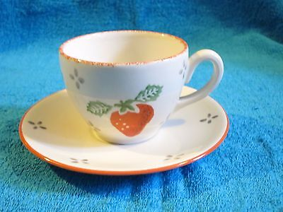 1997  Laura Ashley Spongeware Summer Fruits Tea Cup And Saucer Strawberry