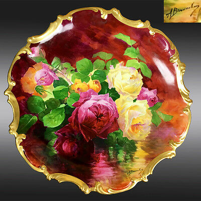 """40cm """"A. Bronssillon"""" signed hand-painted Limoges France tray/ plaque 1906-1920"""
