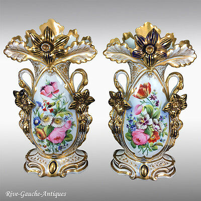 "Pair of 14.75"" tall Old Paris Porcelain hand-painted vases 1870s"