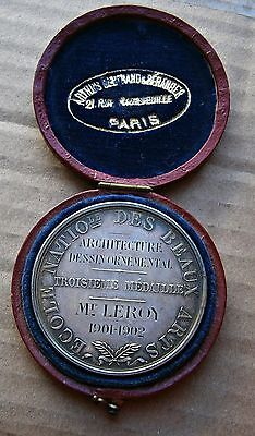 France 1902 Architecture School of Beauty Arts Silver Medal 41 MM Original Case!
