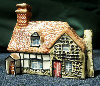 John Putnam miniature pottery 17th c cottage with dovecote 4 inches tall