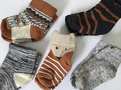 Baby Boy 5 Pack Next Fox Socks 0-6 Months