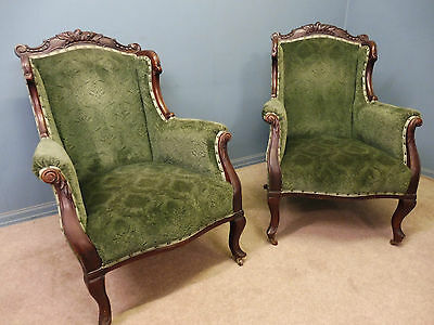 A Pair Of Mahogany Framed Antique Victorian Armchairs