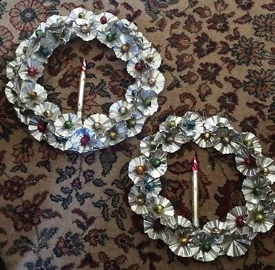 Vintage Mid-Century Aluminum Wreaths With Mercury Glass Candles