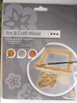 25 sheets 16x16cm Imitation Gold & Silver &Copper Leaf Gilding Art Craft DIY