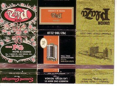 3 Matchbook Covers !  Union Plaza Hotel & Casino, Las Vegas, Nevada !