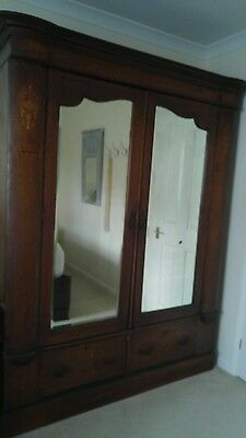 Edvardian inlaid double wardrobe with bevelled mirrors