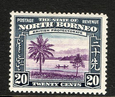 NORTH BORNEO : 1939 20c VIOLET AND SLATE BLUE  SG 312 MOUNTED MINT