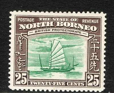 NORTH BORNEO : 1939 25c GREEN AND CHOCOLATE SG 313 MOUNTED MINT