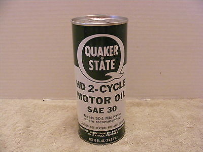 NOS Vintage Quaker State HD 2-Cycle Motor Oil SAE 30 Sign Oil Can Collectible