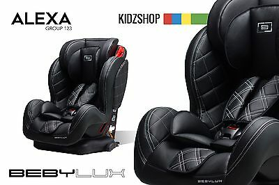 Leather Baby Car Seat With Isofix Base 9 - 36 Kg 1 -12 Group 1 2 3 Black Maxi