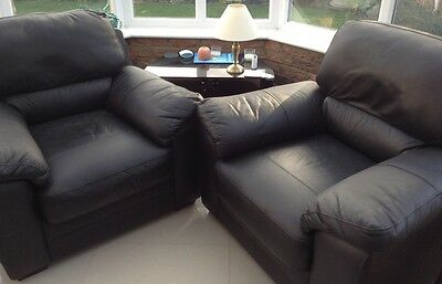 Black Leather Armchairs (2)