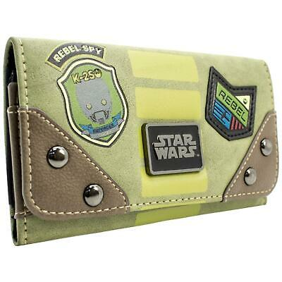New Official Star Wars Rebel Spy K-2So Droid Green Coin & Card Tri-Fold Purse