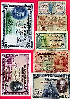 SPAIN LOT X 7 BANKNOTES CIVIL WARS1935-1937 50-1-5-10-25-50-100 CIRCULATED F/aVF