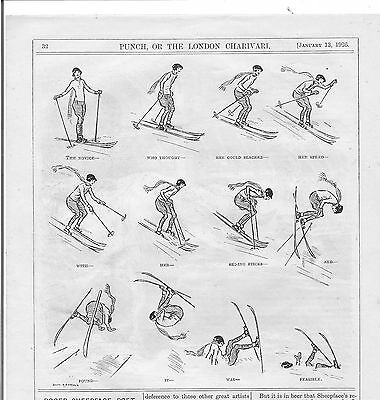 Amusing 1926 Punch SKIING Cartoon