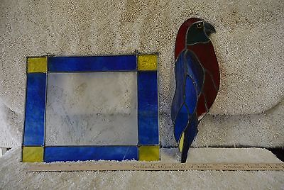 Set of  Vintage Stained Leaded Glass Hanging Window Panes Bird and Floral 8789