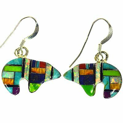 Turquoise Lapis Opal Multigem Fine Inlay Bear Earrings Sterling Silver Southwest