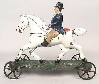 Scarce 19th Century George Brown Pull Toy Horse And Rider VIDEO