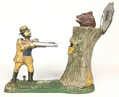 1907 Teddy Roosevelt And The Bear Mechanical Bank By J&E Stevens Co  Working