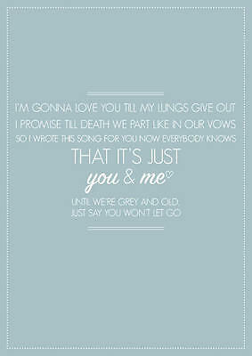 "James Arthur ""Say You Won't Let Go"" A4 Song Lyric Poster Print Art. Great Gift!"