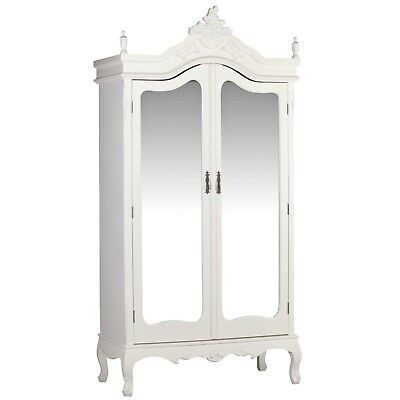 French Antique Cream Chateau Shabby Chic Mirrored Double Armoire Wardrobe