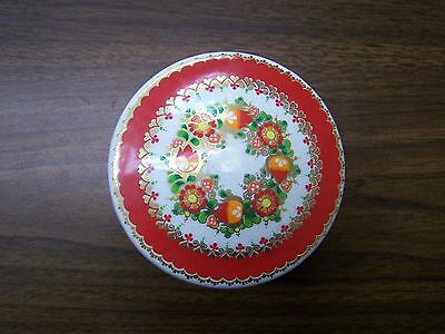 Flat Enamel Box w/Lid White w/Red trim -  Made  in  Austria