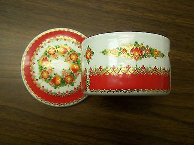 Medium Enamel Box w/Lid White w/Red trim -  Made  in  Austria