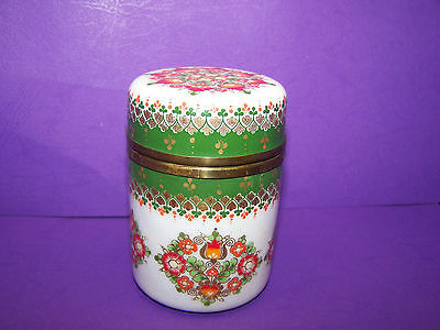 Cylinder Enamel Box w/doubleframe White over Green -  Made  in  Austria