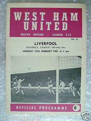 1965 WEST HAM UNITED v LIVERPOOL, 27th Feb (League Division One Programme)