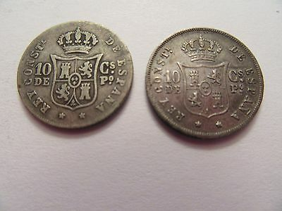 TWO Philippines silver 10 centimos, 1 1881 + 1 1885