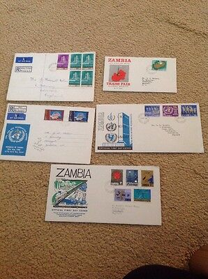 Zambia.1966, 1967 & 1968 First Day Covers & registered Envelopes.