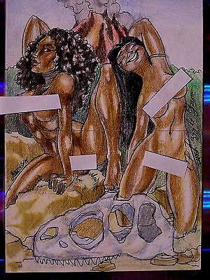 Topps-Galans-Contemporary Pinups-Sexy-ORIGINAL-Double-Sketch Card-Tansa-Artofsin